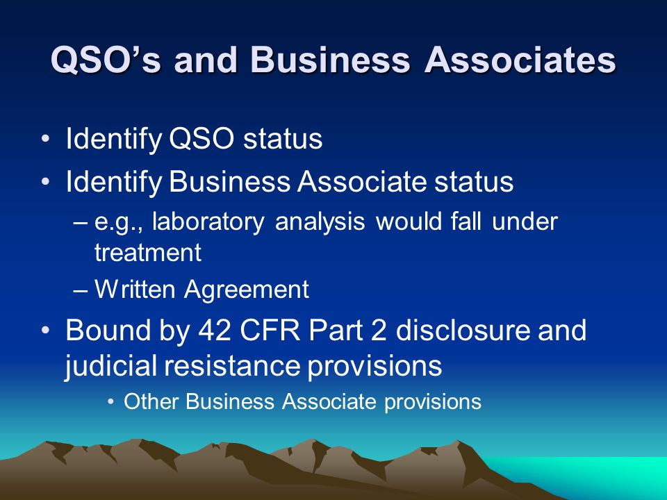 QSO's and Business Associates