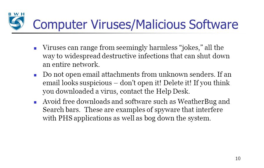Computer Viruses/Malicious Software