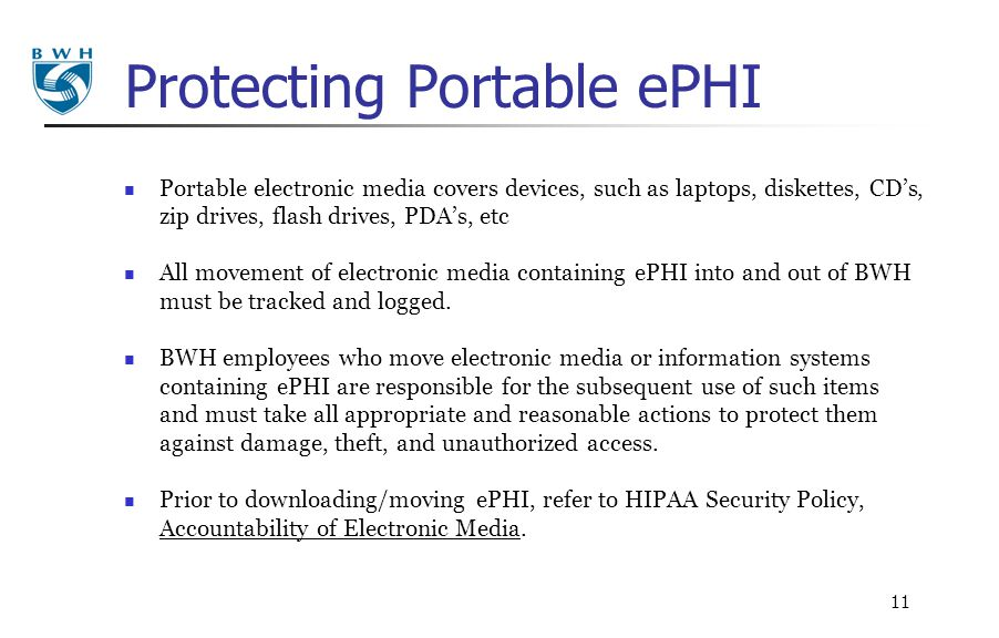 Protecting Portable ePHI