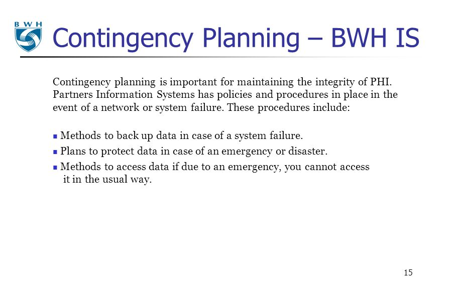Contingency Planning – BWH IS