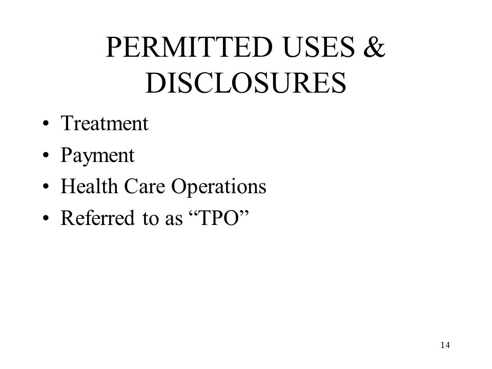 PERMITTED USES & DISCLOSURES