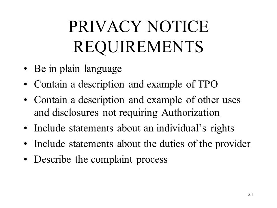PRIVACY NOTICE REQUIREMENTS