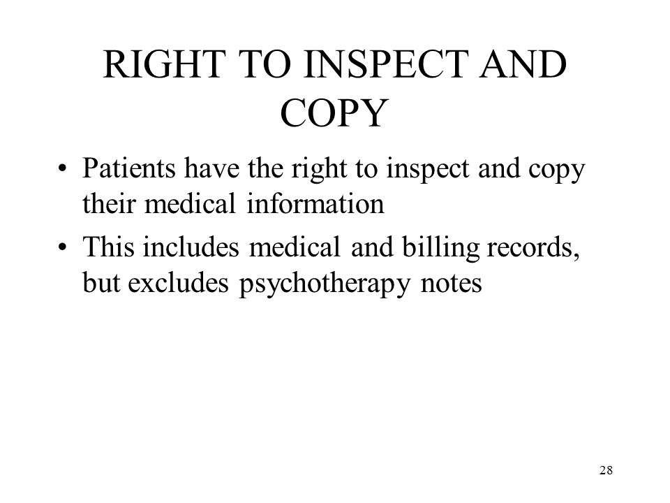 RIGHT TO INSPECT AND COPY