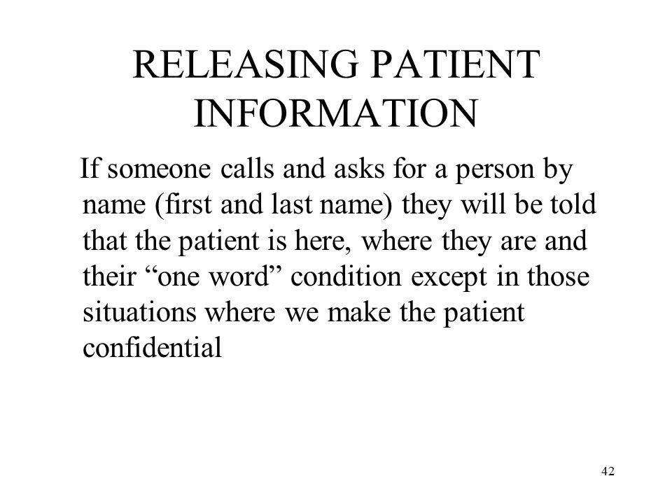 RELEASING PATIENT INFORMATION