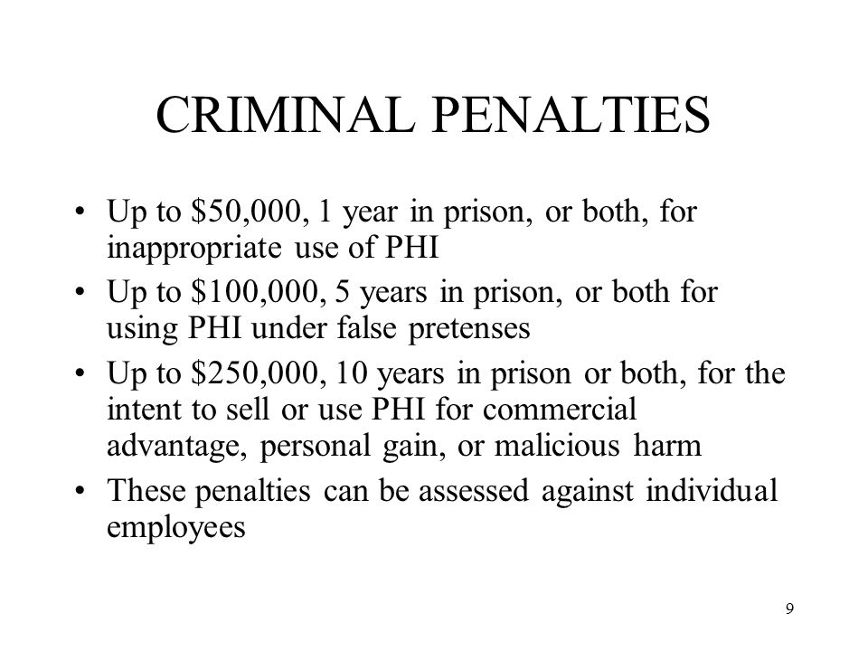 CRIMINAL PENALTIES Up to $50,000, 1 year in prison, or both, for inappropriate use of PHI.