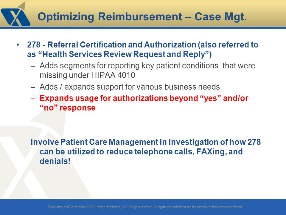 Optimizing Reimbursement – Case Mgt.
