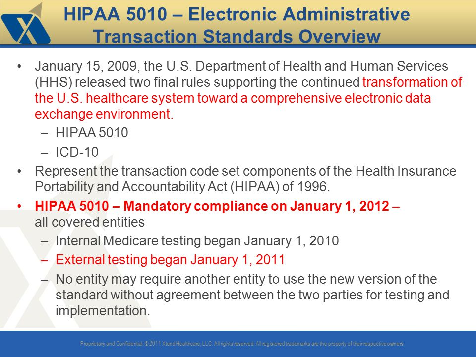 HIPAA 5010 – Electronic Administrative Transaction Standards Overview