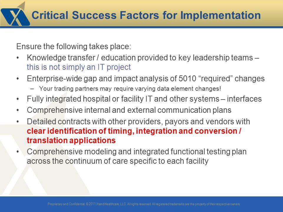 Critical Success Factors for Implementation