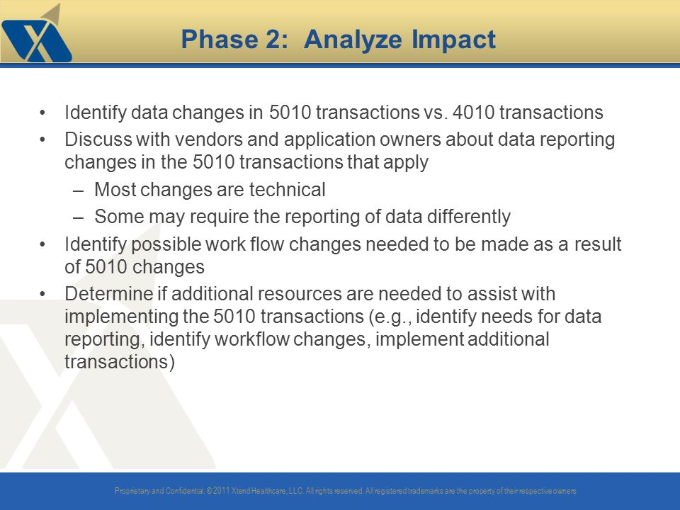Phase 2: Analyze Impact Identify data changes in 5010 transactions vs. 4010 transactions.