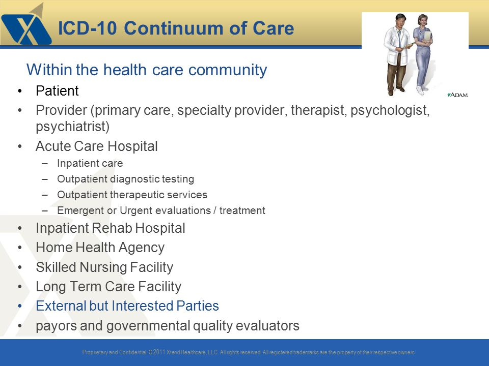 ICD-10 Continuum of Care Within the health care community Patient