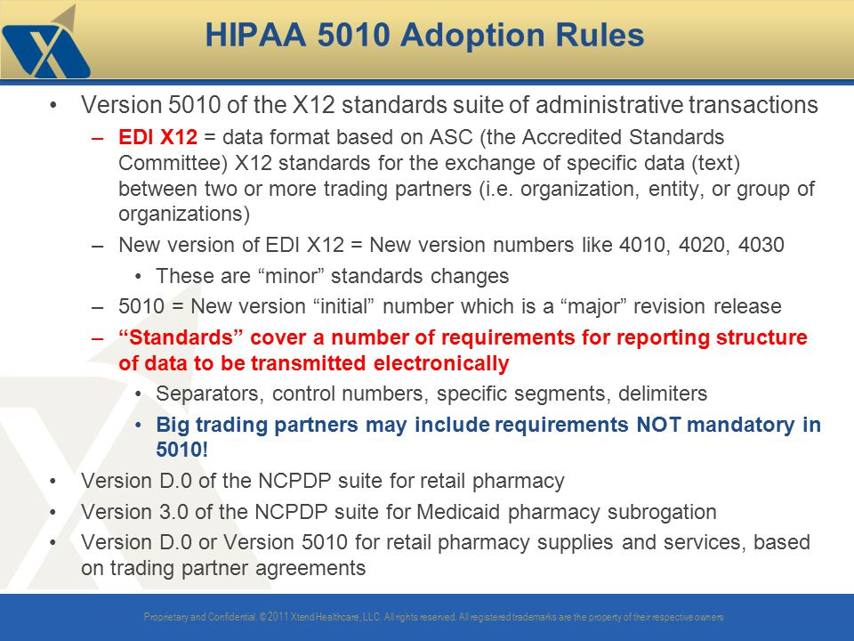 HIPAA 5010 Adoption Rules Version 5010 of the X12 standards suite of administrative transactions.