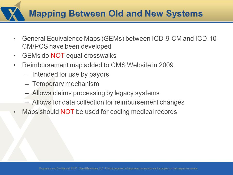 Mapping Between Old and New Systems