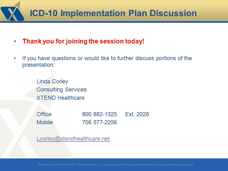 ICD-10 Implementation Plan Discussion