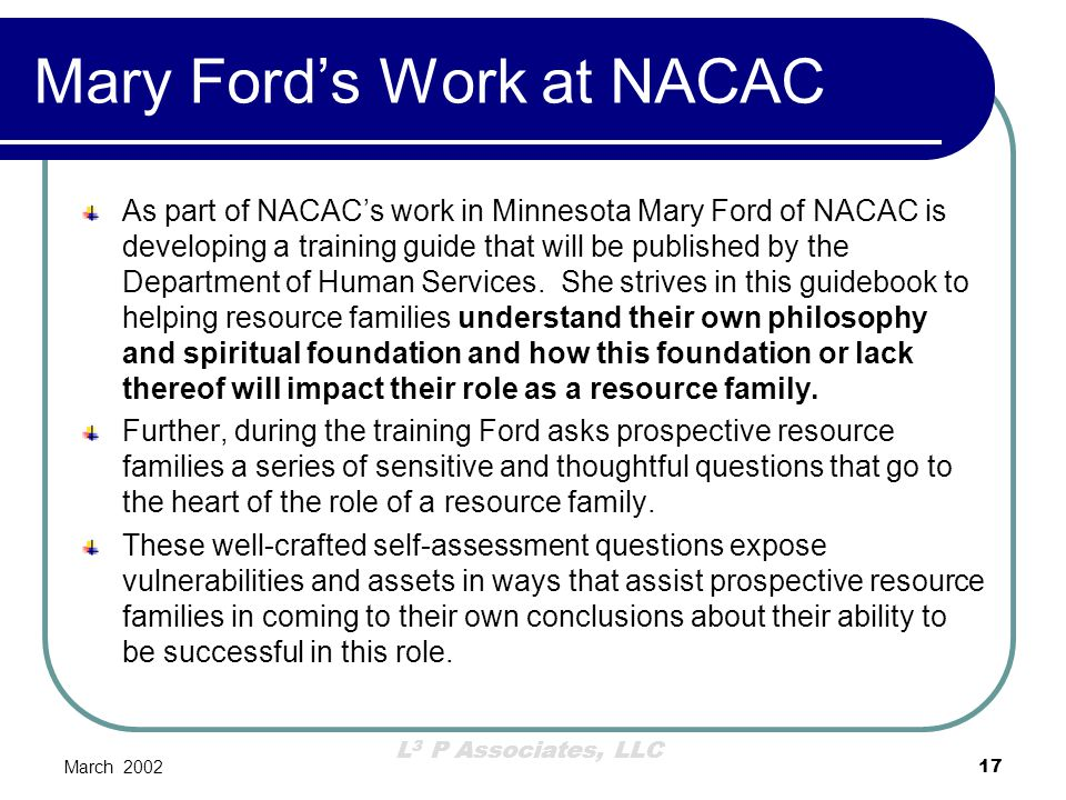 Mary Ford's Work at NACAC