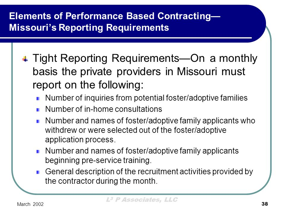 Elements of Performance Based Contracting—Missouri's Reporting Requirements