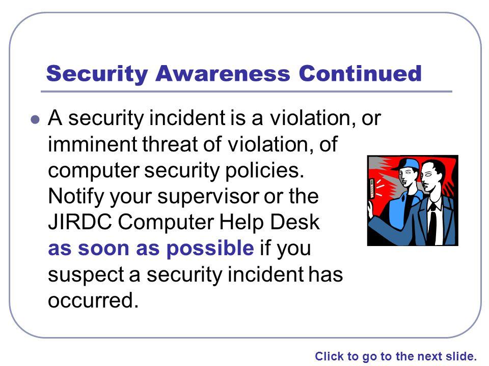Security Awareness Continued
