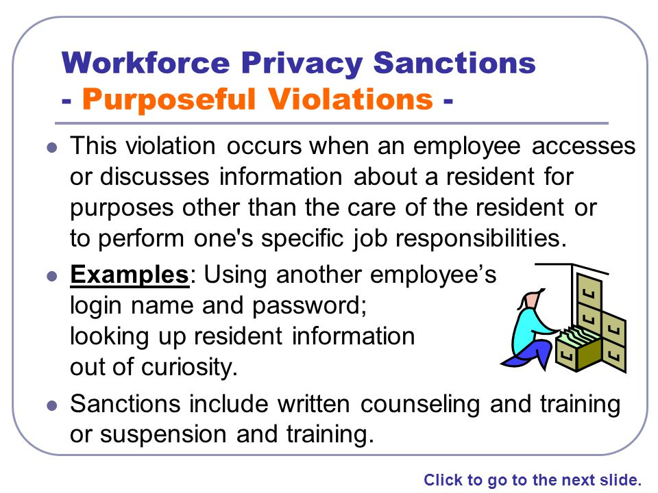 Workforce Privacy Sanctions - Purposeful Violations -