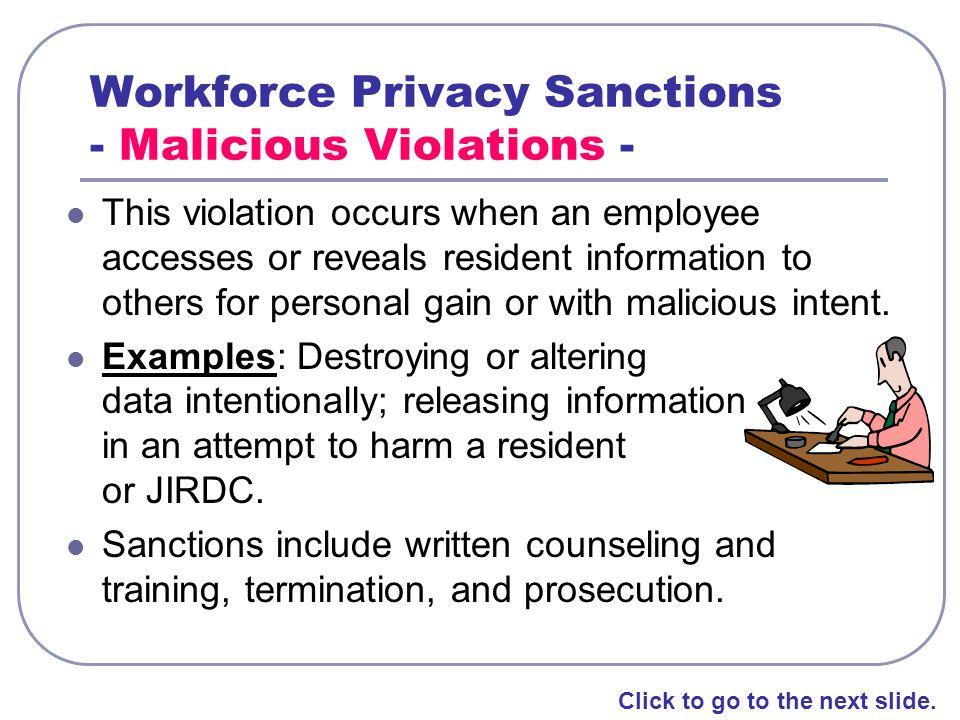 Workforce Privacy Sanctions - Malicious Violations -