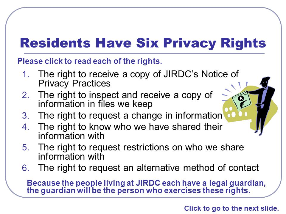 Residents Have Six Privacy Rights