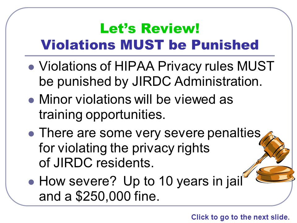 Let's Review! Violations MUST be Punished