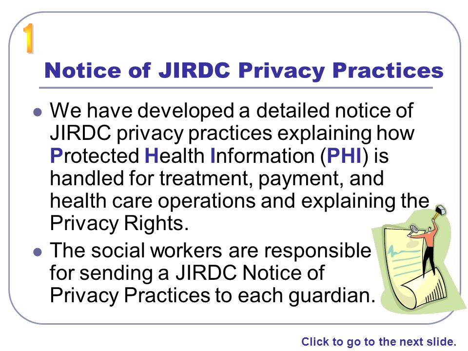 Notice of JIRDC Privacy Practices