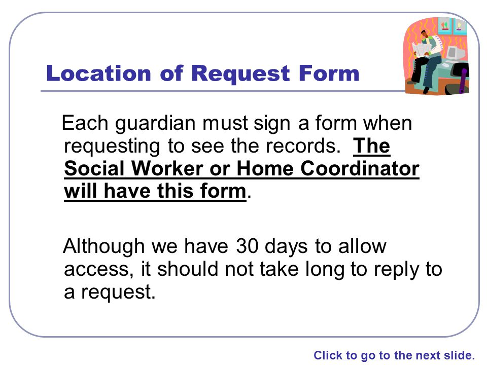 Location of Request Form