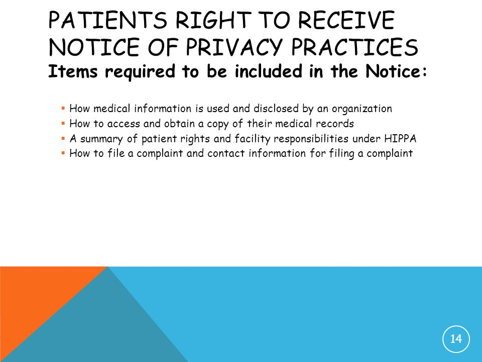 Patients Right to Receive Notice of Privacy Practices