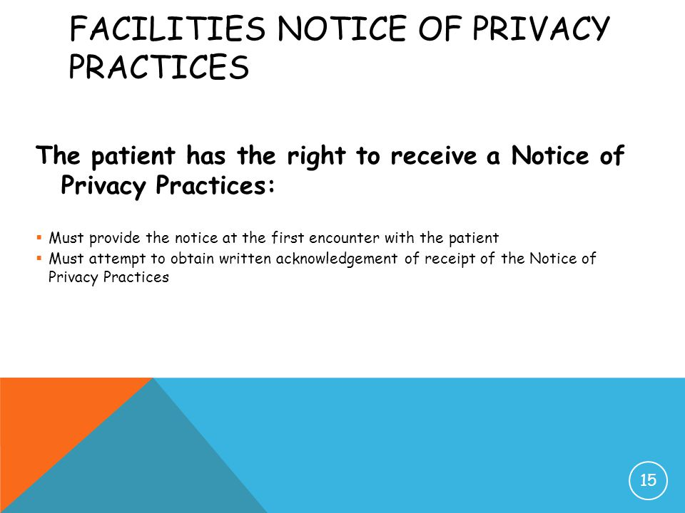Facilities Notice of Privacy Practices