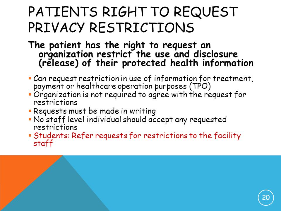 Patients Right to Request Privacy Restrictions