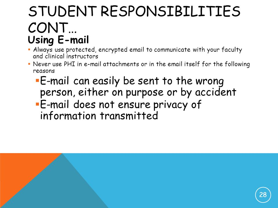 Student Responsibilities cont…