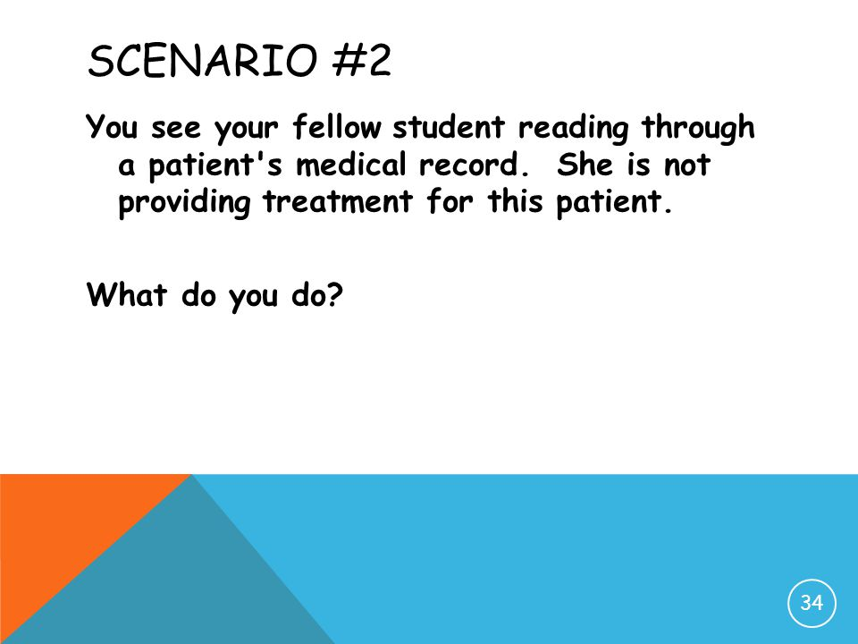 Scenario #2 You see your fellow student reading through a patient s medical record.