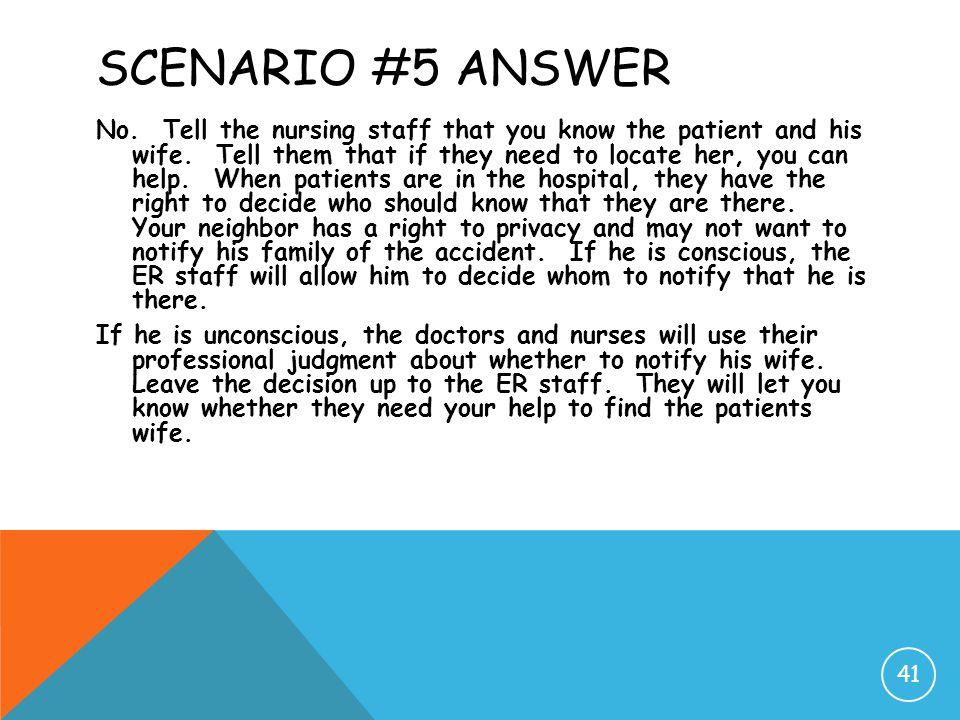 Scenario #5 Answer