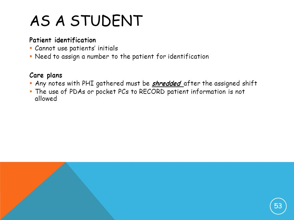 As a Student Patient identification Cannot use patients' initials