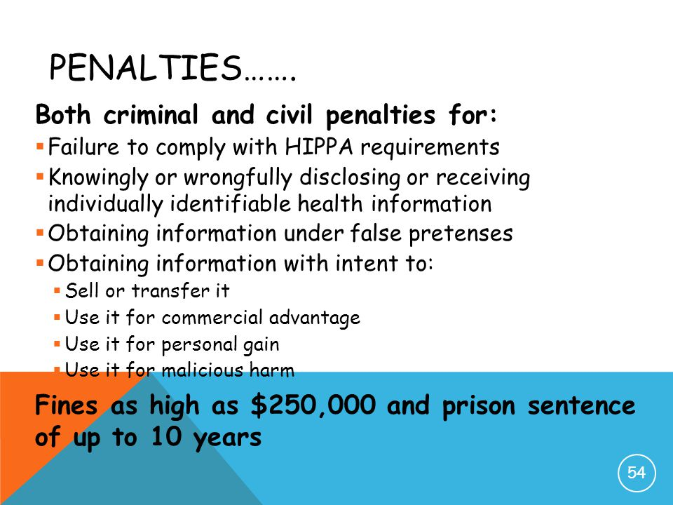 Penalties……. Both criminal and civil penalties for: