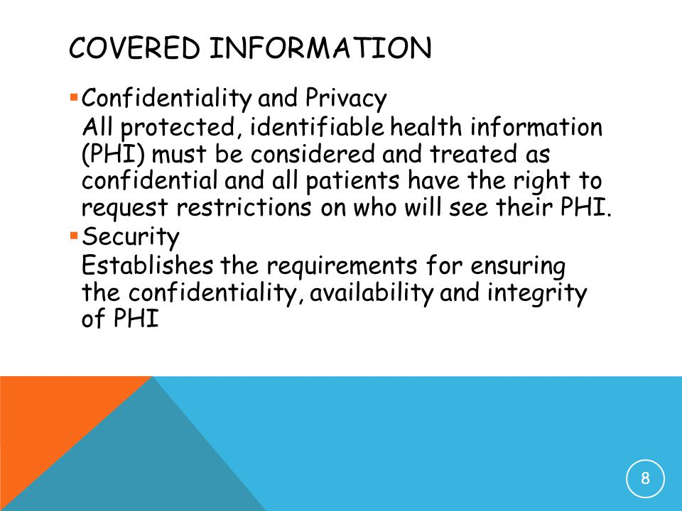 Covered Information Confidentiality and Privacy