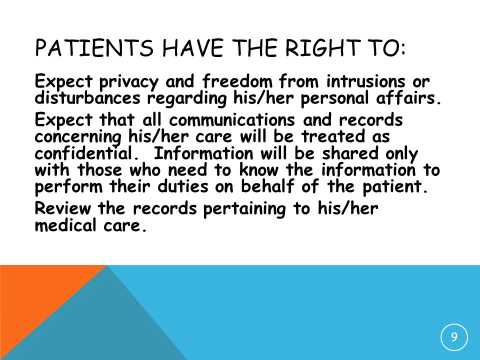 Patients have the Right to: