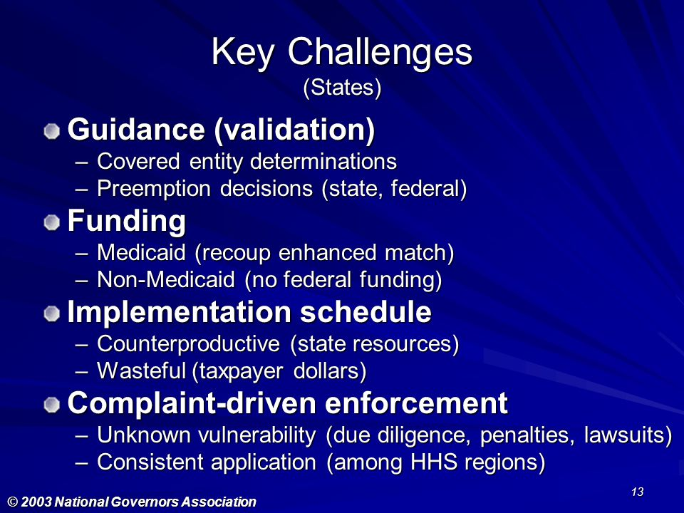 Key Challenges (States)