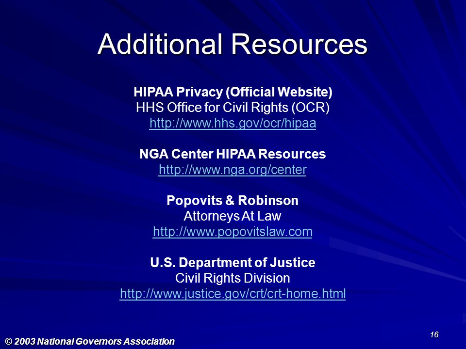 Additional Resources HIPAA Privacy (Official Website)