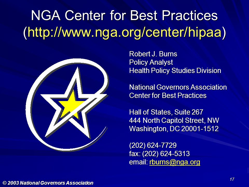 NGA Center for Best Practices (http://www.nga.org/center/hipaa)