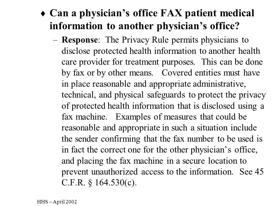 Can a physician's office FAX patient medical information to another physician's office