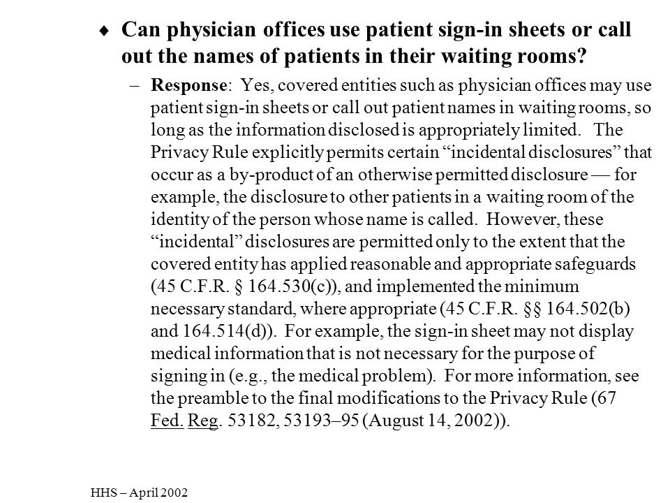 Can physician offices use patient sign-in sheets or call out the names of patients in their waiting rooms