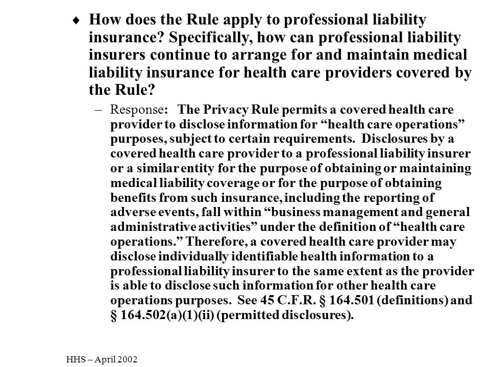 How does the Rule apply to professional liability insurance