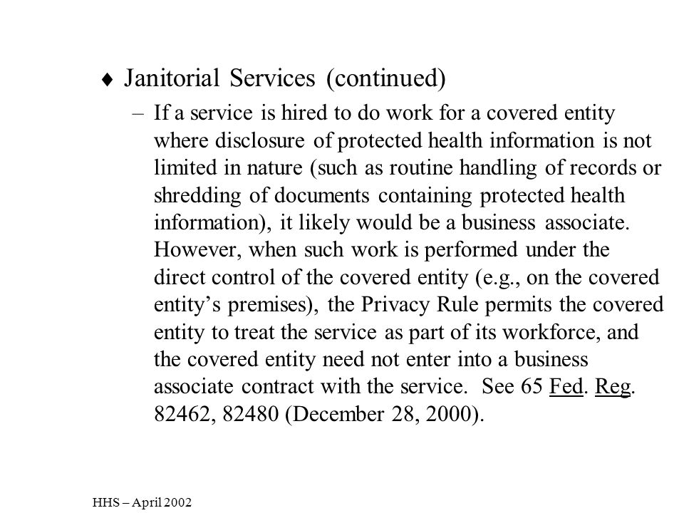Janitorial Services (continued)
