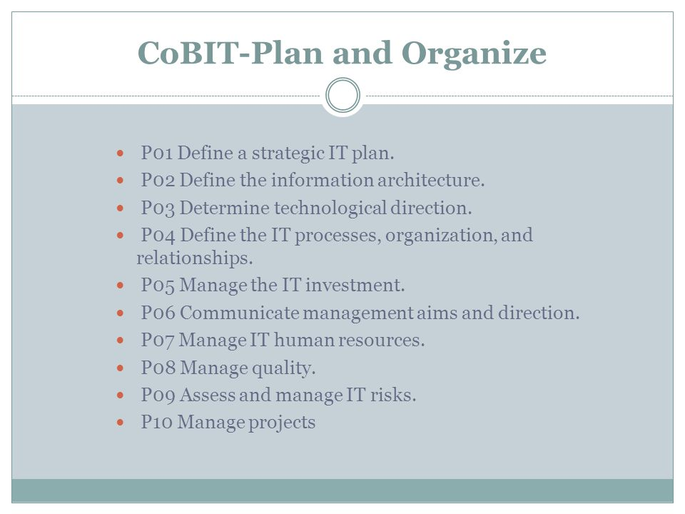 CoBIT-Plan and Organize