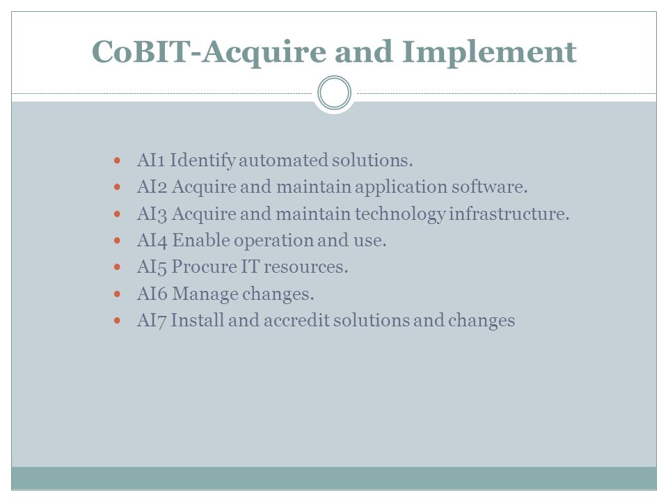 CoBIT-Acquire and Implement