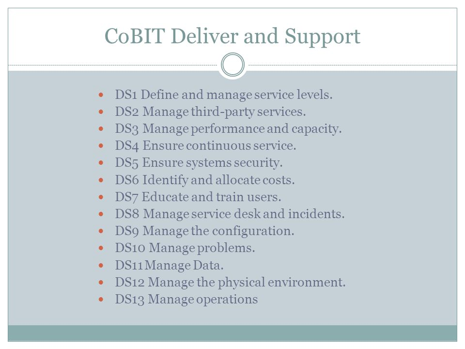 CoBIT Deliver and Support