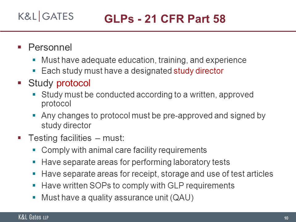 GLPs - 21 CFR Part 58 Personnel Study protocol