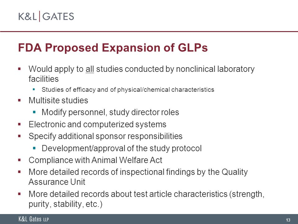 FDA Proposed Expansion of GLPs