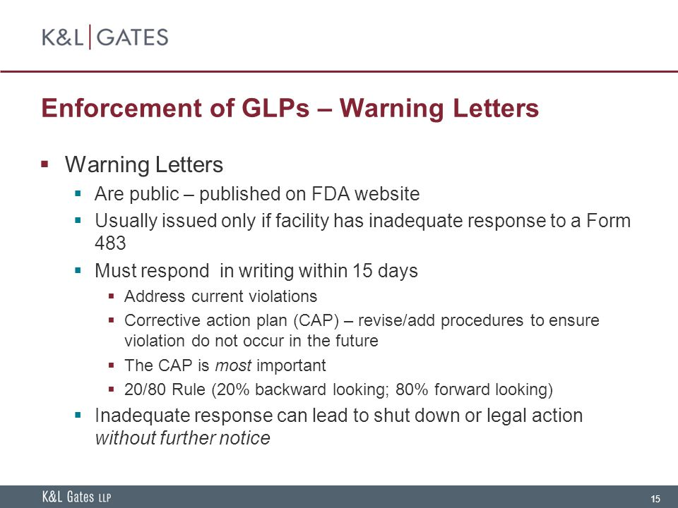 Enforcement of GLPs – Warning Letters