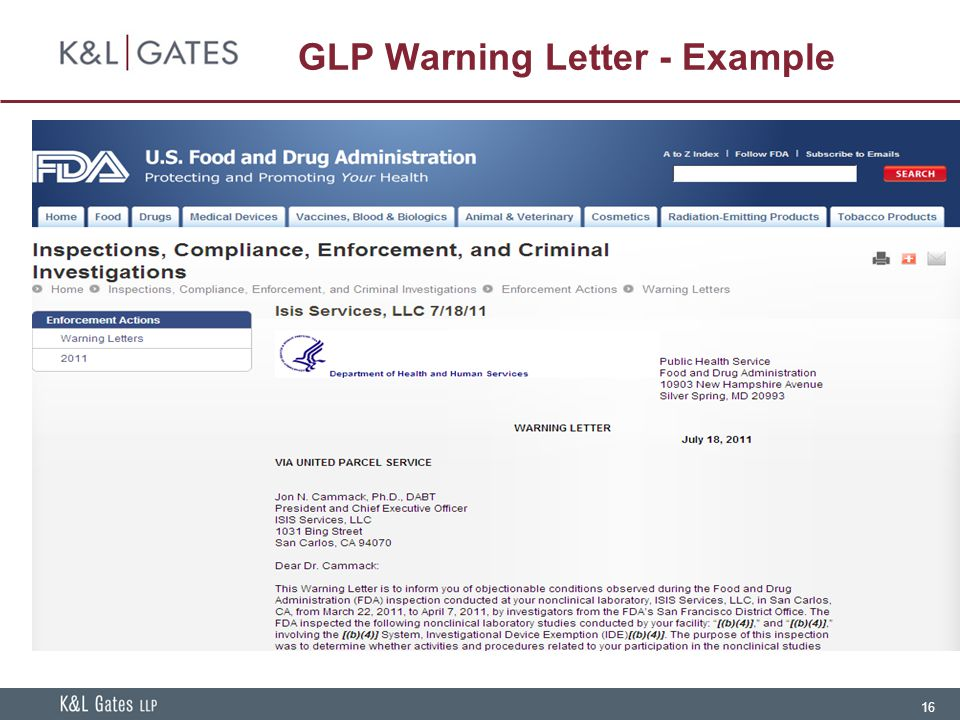 GLP Warning Letter - Example